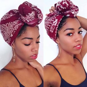 Black Woman wearing Head Wrap made from Kenyan Scarf | Covering Natural Hair | Black Blogger