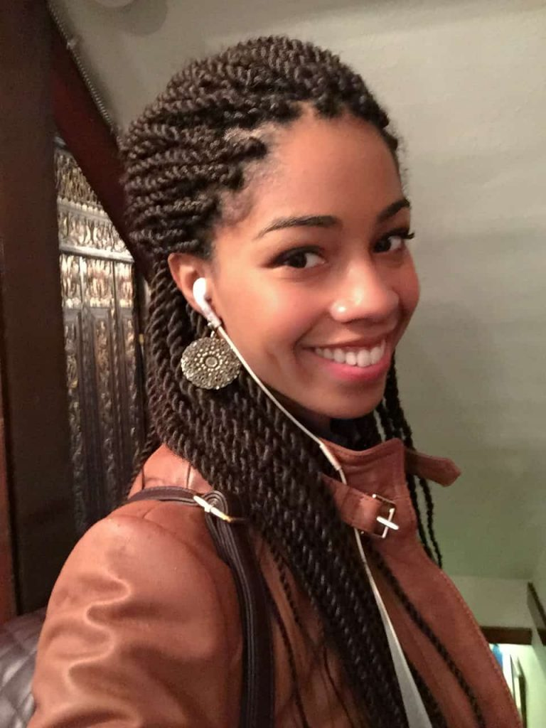 Senegalese Twists Styled Half Up Down | Protective Style
