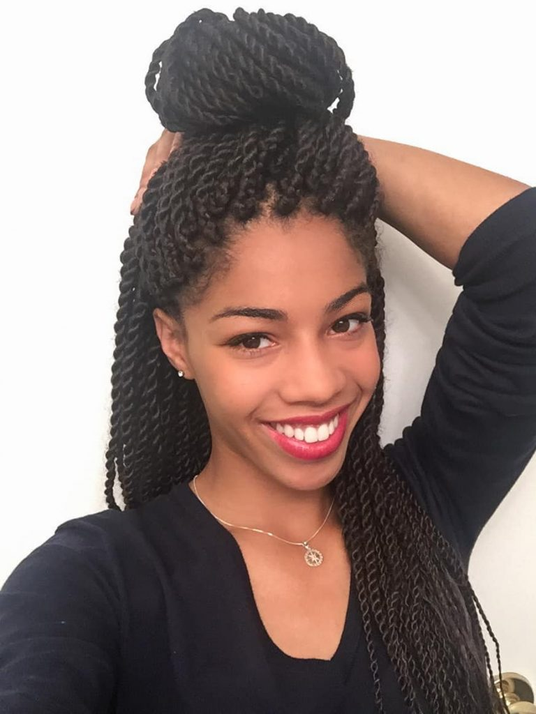Senegalese Twists styled in a Top Knot |