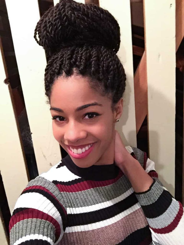 Senegalese Twists styled in a Top Bun