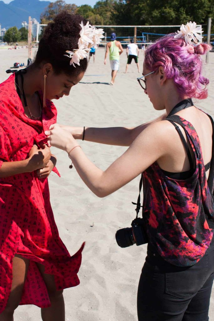 Photoshoot at the beach | Red Kimono | Flower in Afro Puff | Pink Hair