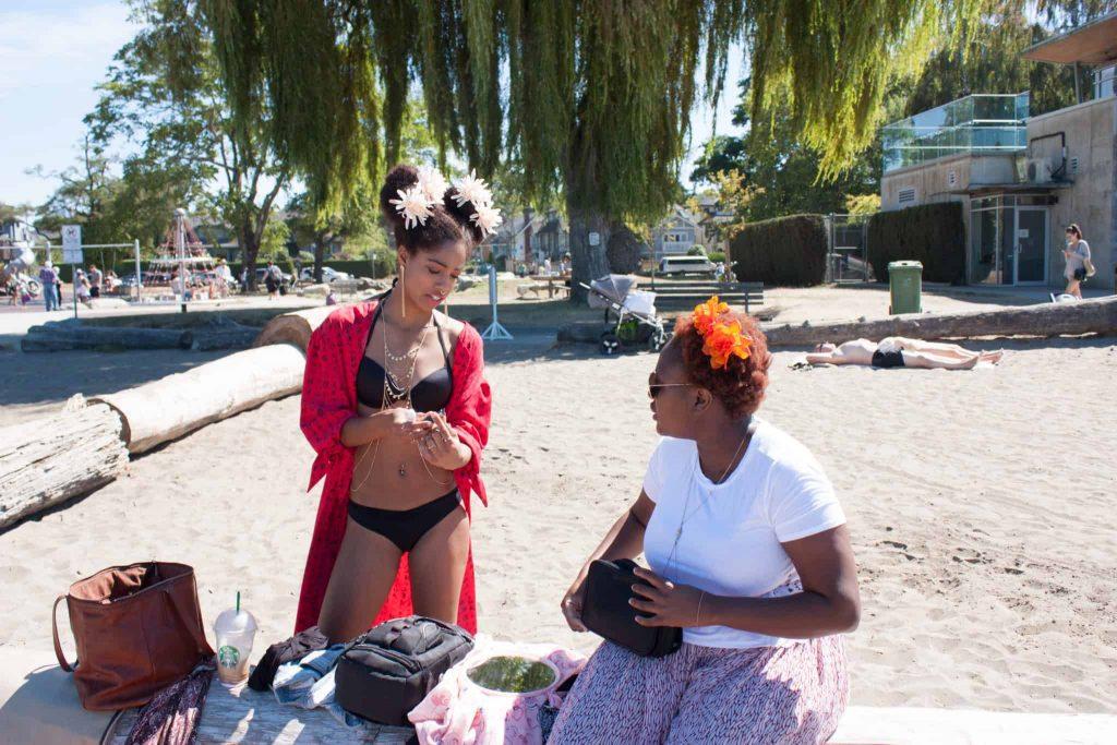 Blk Creatives | Afro Puff Flowers | Black Bikini | Tilda Kimono | Red CoverUp | Black Girl Magic