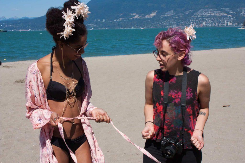 Black Girl in Bikini | Flowers in Afro Puff | Beach | TildaKimono