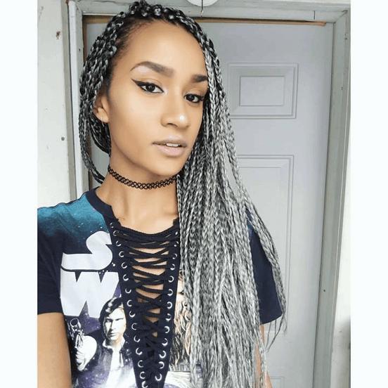 Sliver Grey Box Braids