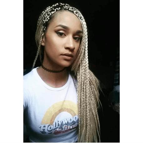 Platinum Box Braids   Light Blonde Box Braids   Choker   Do Your Own   Mixed Girl