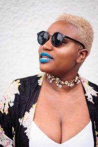 Short Natural Hairstyle Inspiration   Blue Lipstick