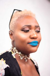Tilda   Blonde Tapered Cut Inspiration   TWA   Blue Lipstick on Black Girl