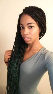 Ombre Box Braids | Protective style for natural hair | Dark Green/Emerald to Black Ombre