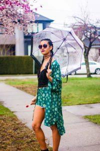Protective Style   Green Patterned Tilda Kimono   Melanin Model