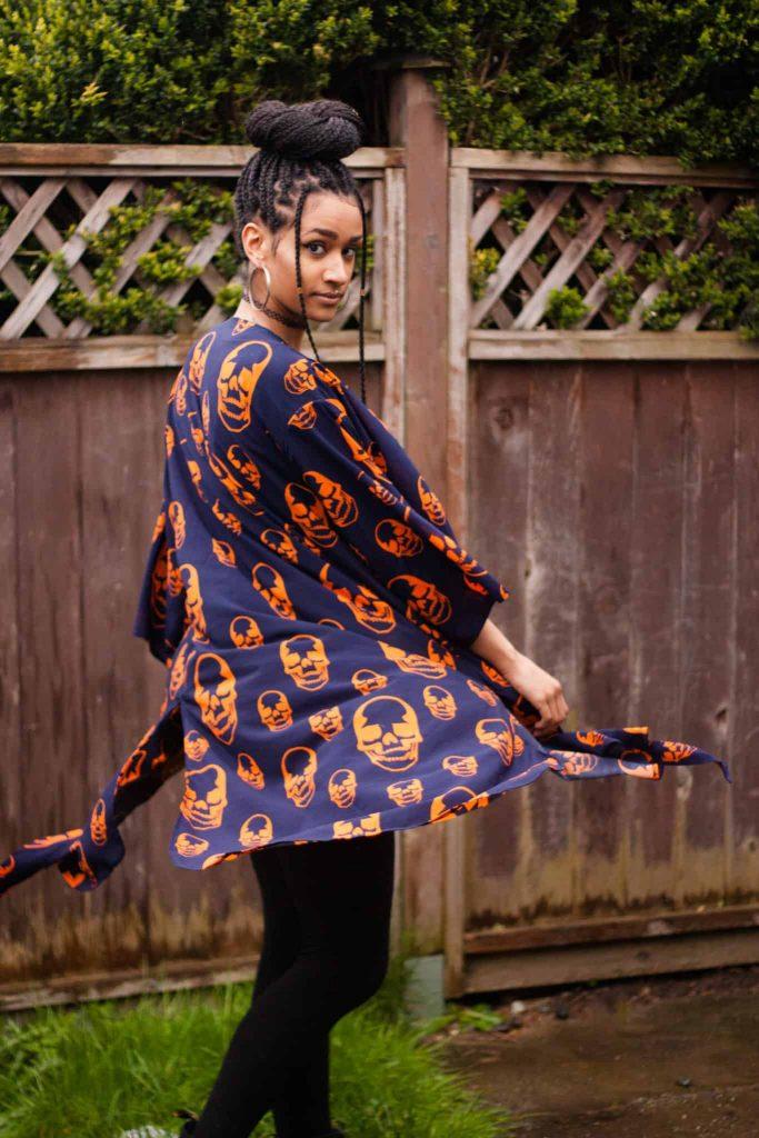 TildaKimono Skull Kimono Orange and Navy   Box Braid Top Bun Style