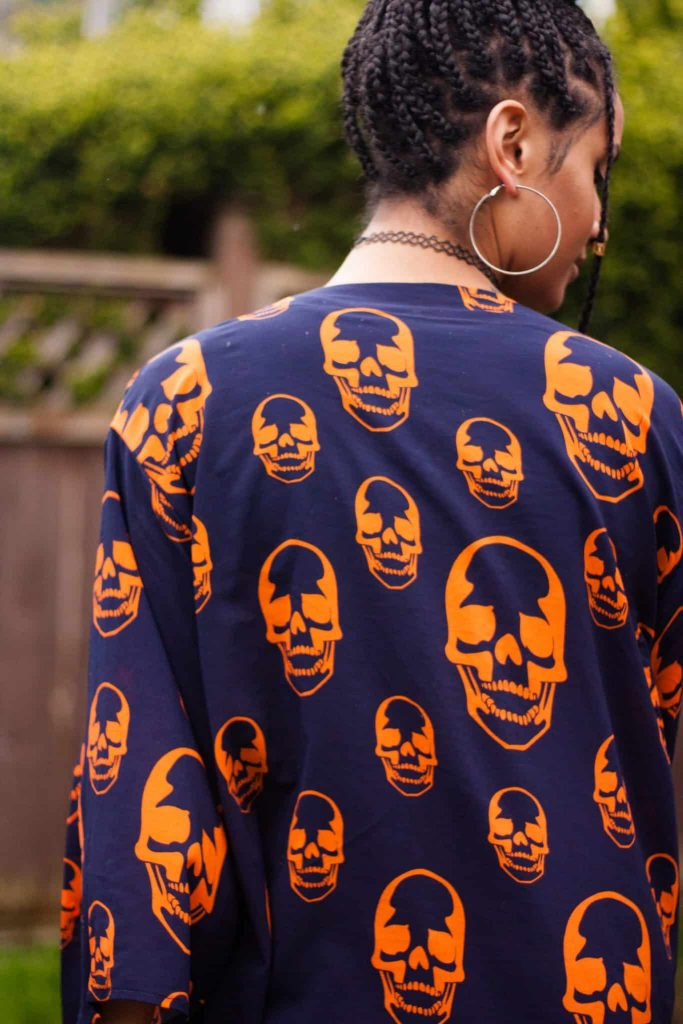 TildaKimono Skull Kimono Orange and Navy