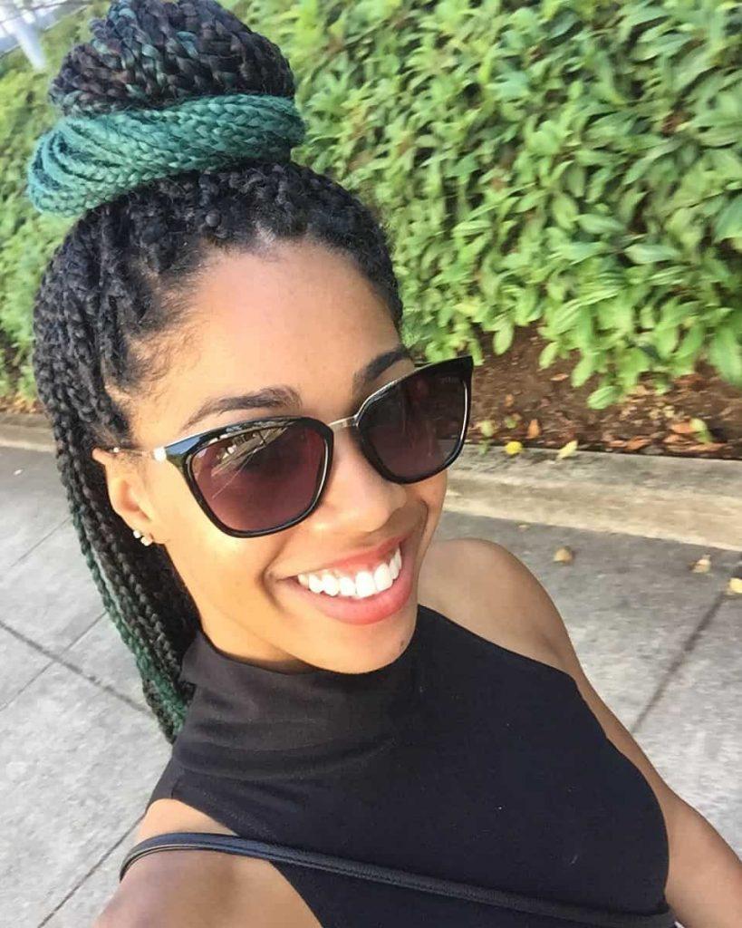 Top Bun with Green Ombre Box Braids | Teal/ Emerald Ombre Braiding Hair