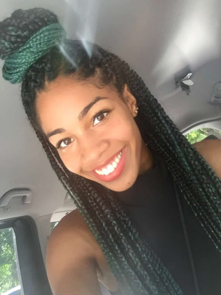 Top Bun Protective Style | Boxbraids done with Ombre black to Teal/Green Braiding hair off AliExpress