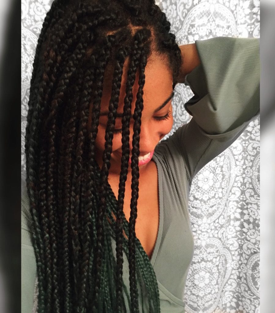 Green Ombre Box Braids | Protective Style