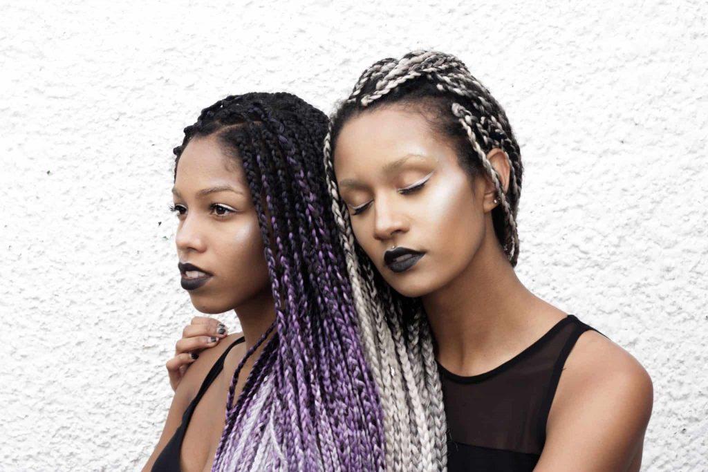 Purple Grey Silver Ombre Box Braid Twins | Black Models | Alien Shoot | Black lips