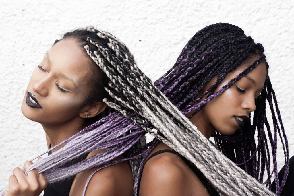 Silver/ Grey and Purple Grey Lavender Ombre Box Braids | Mixed Girls | Protective Style