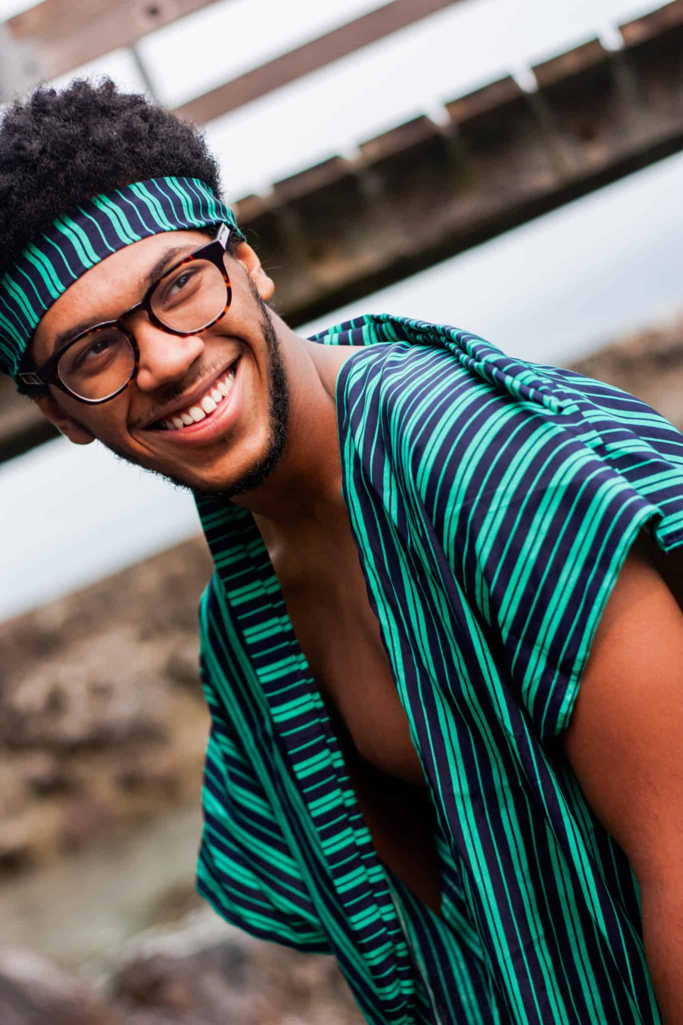 Green Striped TildaKimono   Black man with Glasses   Summer Music Festival Look for Men