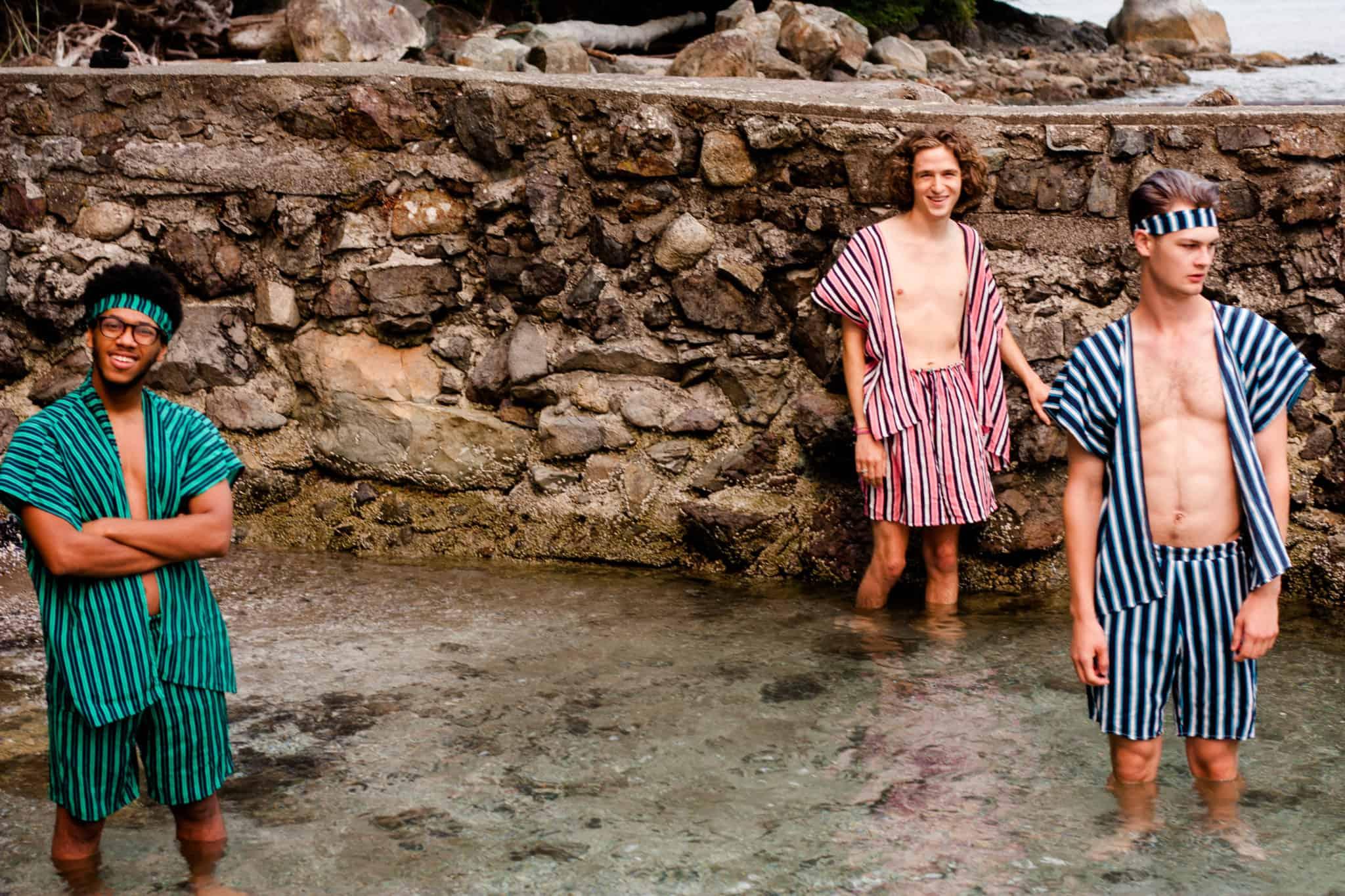 Summer Vintage festival vibe   Men in Striped TildaKimono (Top and Shorts)