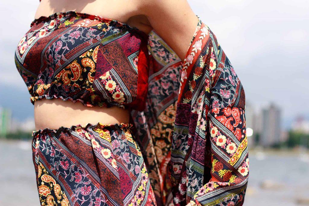 Close up Two Piece   Patterned Bandeau   Buy Black   Tilda Kimono