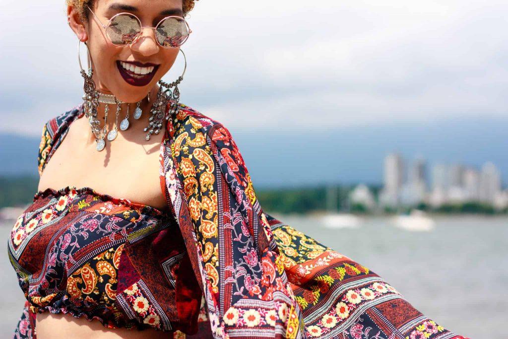 Close up Two Piece   Patterned Bandeau   Buy Black   Tilda Kimono Crop top