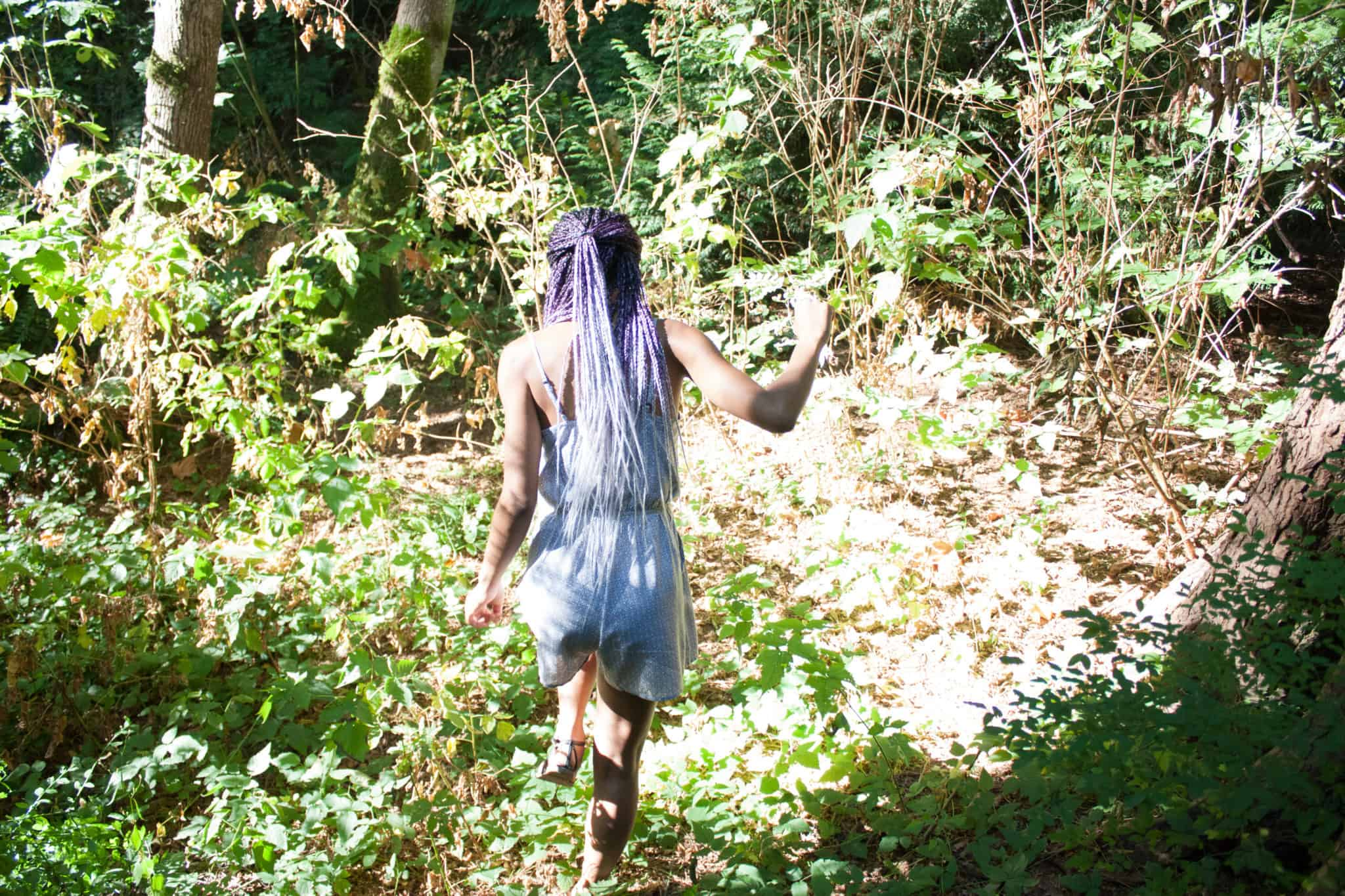 Grey to Purple Ombre Box Braids Exploring the Forest
