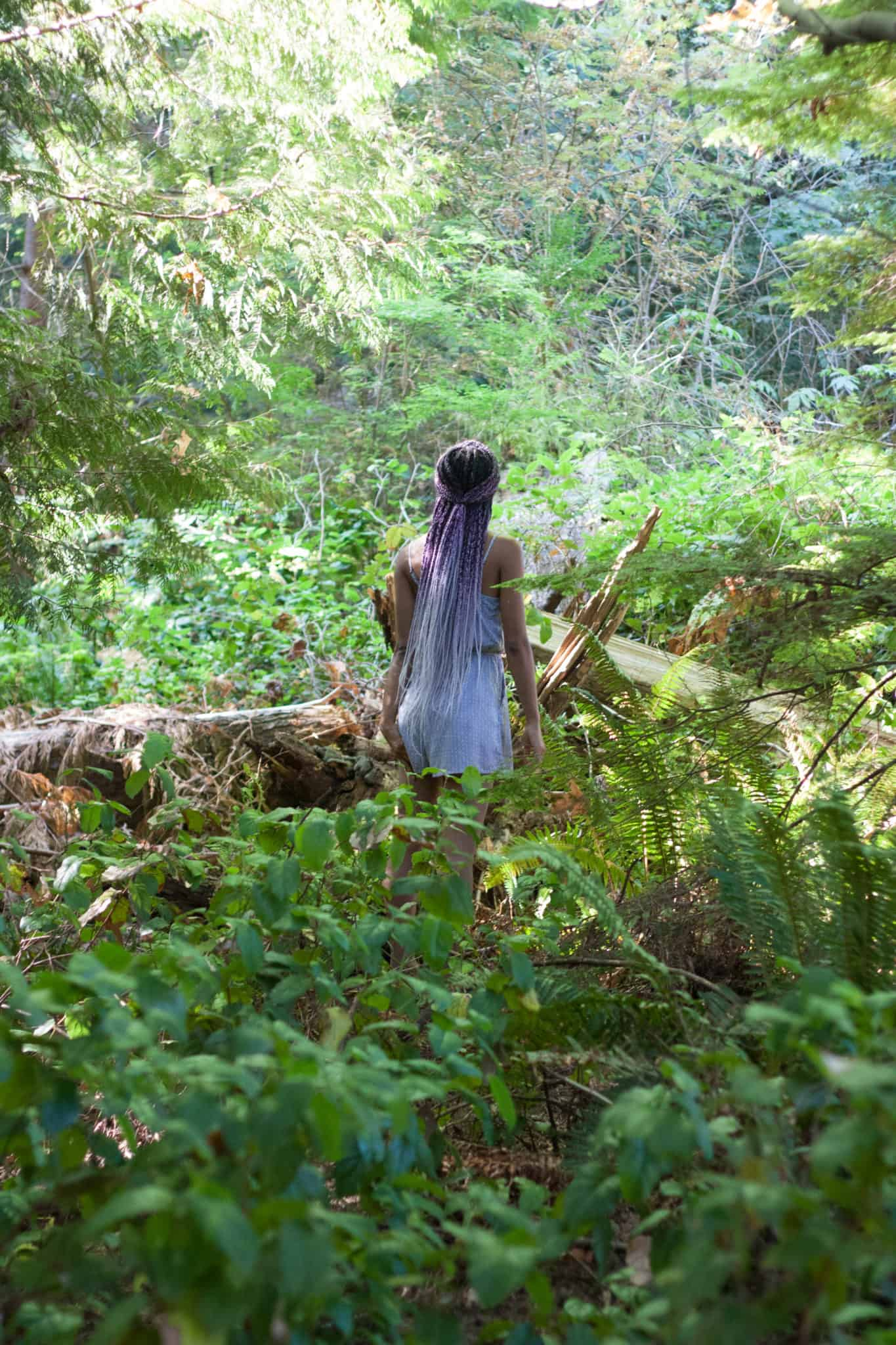 Protective Style in the Forest | Purple Ombre Box braids