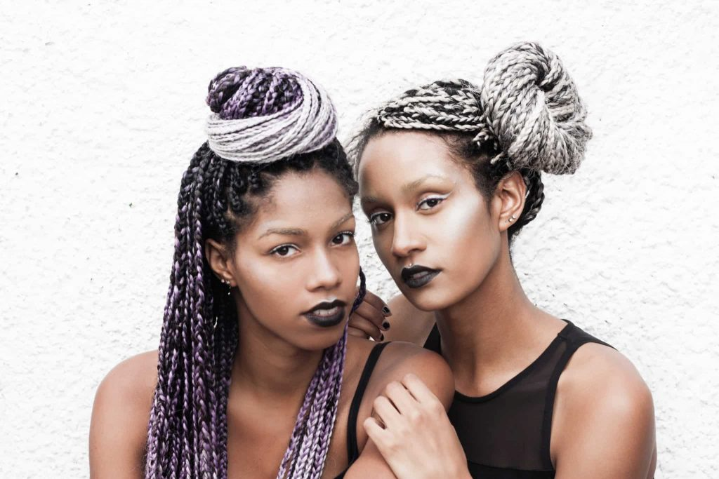 Top Bun and Side Buns | Hairstyles for Box Braids | Purple and Grey Ombre | Black Lipstick on dark skin