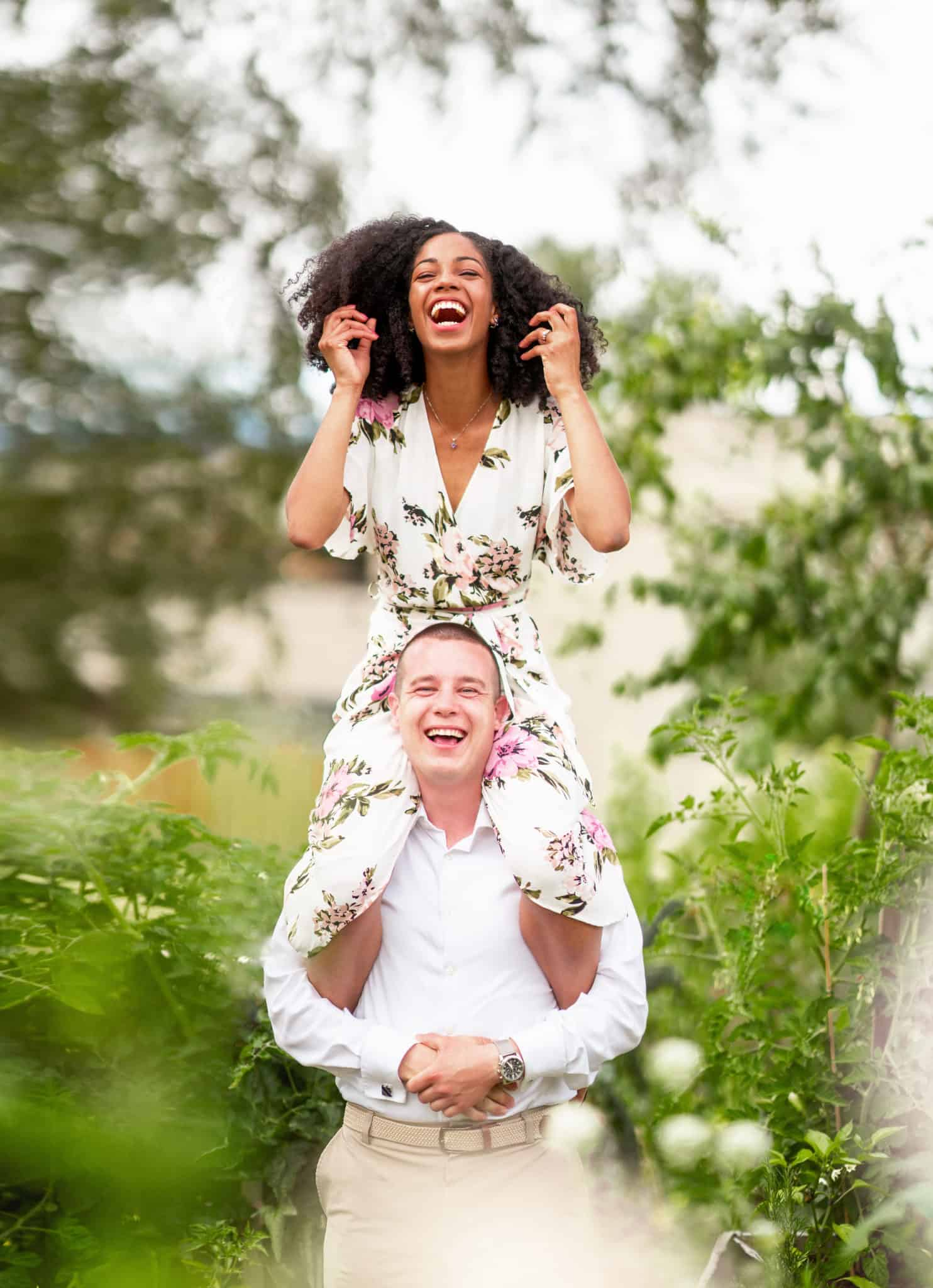 Natural Hair Laughing Engagement Pictures | Interracial Relationship