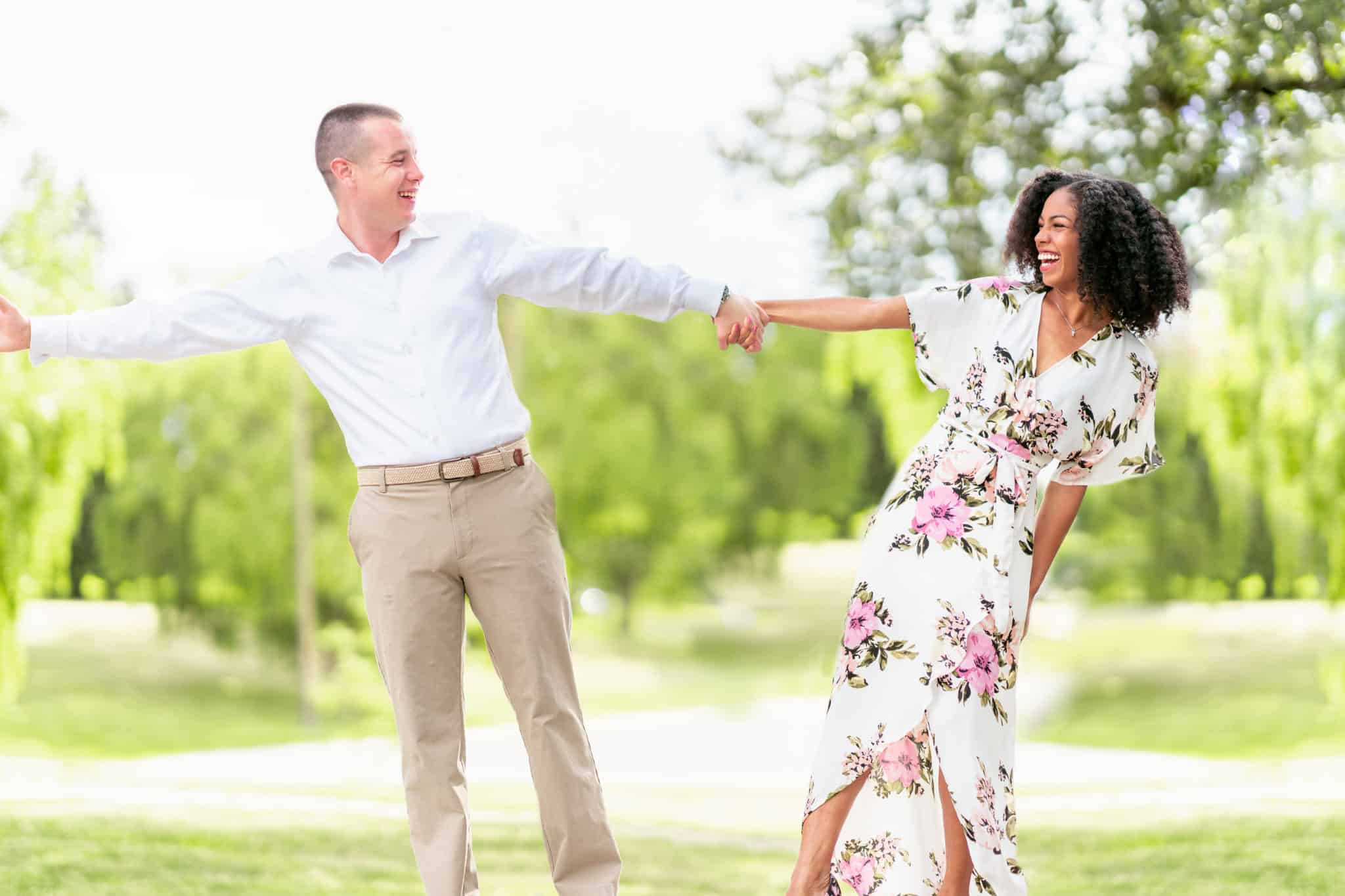 Natural Hair Silly Engagement Photo