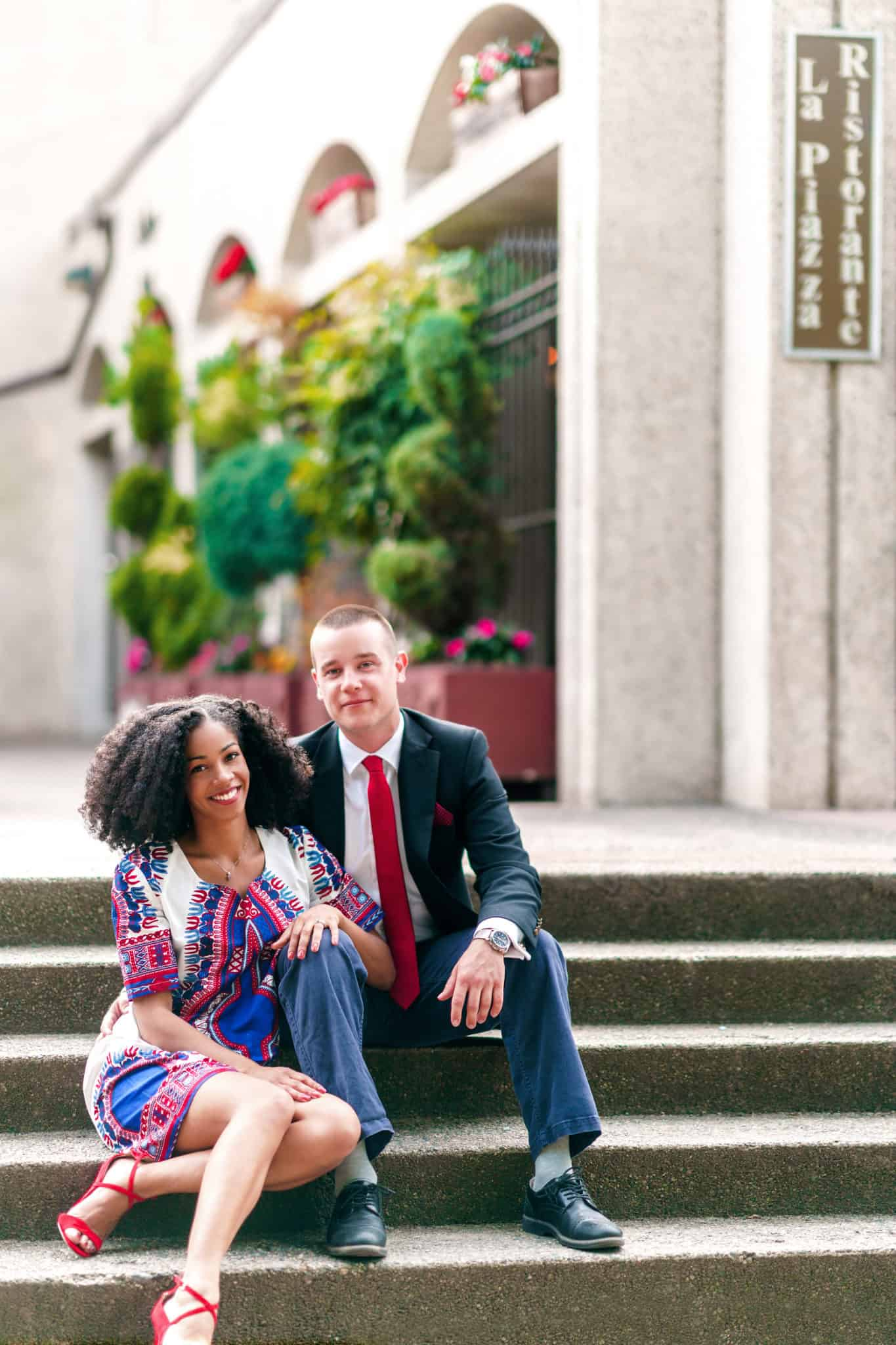 Natural Hair Engagement Photo | African Print Dress | Black and White Couple
