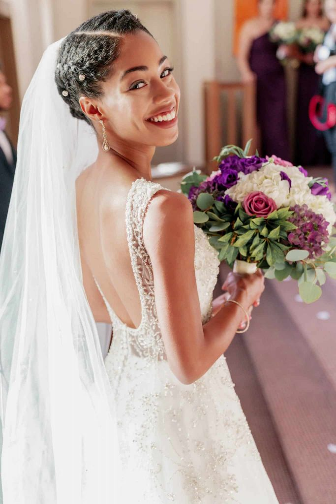 Natural Hair Bride - Type 4 Curls worn in Braided Wedding Updo