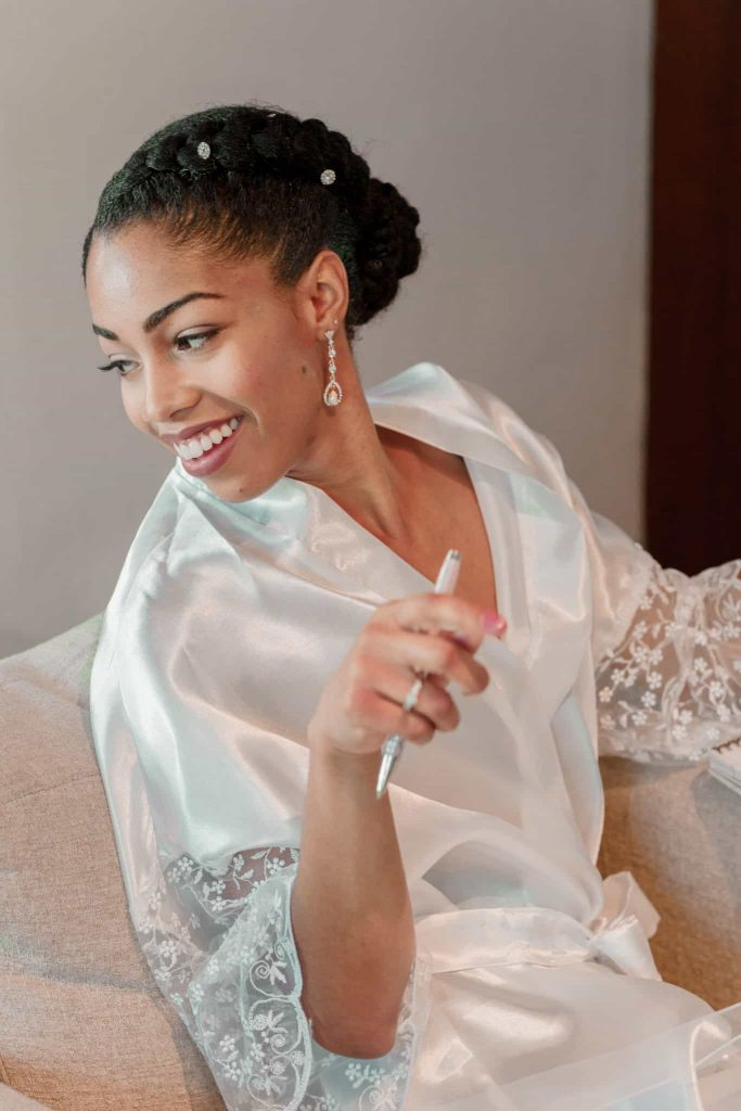 Black Bride with Braided Natural Hair Updo. Wearing a Tilda Kimono Bridal Robe