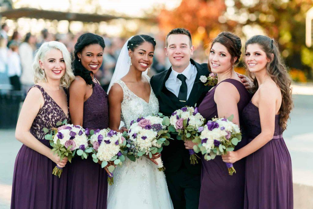 Natural Hair Bride with Bridal Party - Purple David's Bridal Dresses