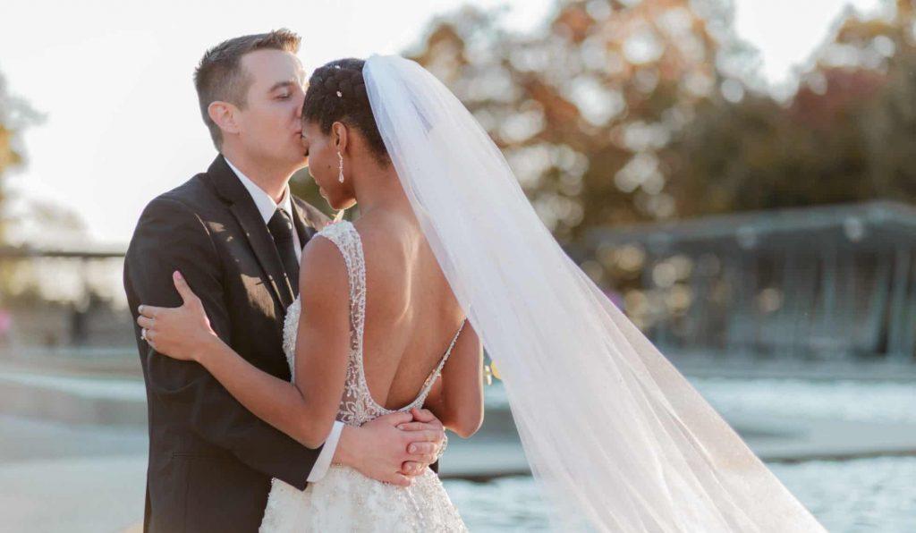 Natural Hair Bride   Interracial Marriage - Black Bride and White Groom Forehead Kiss