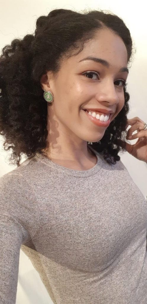 I styled my twist out into a half up/half down style.