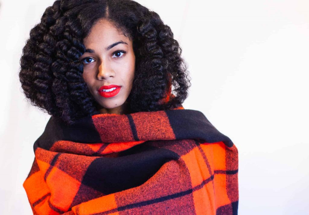 Twist out on Blown Out Natural Hair | Mac Cosmetics Lady Danger on brown skin | Bright and Bold Orange Lips and Plaid Scarf