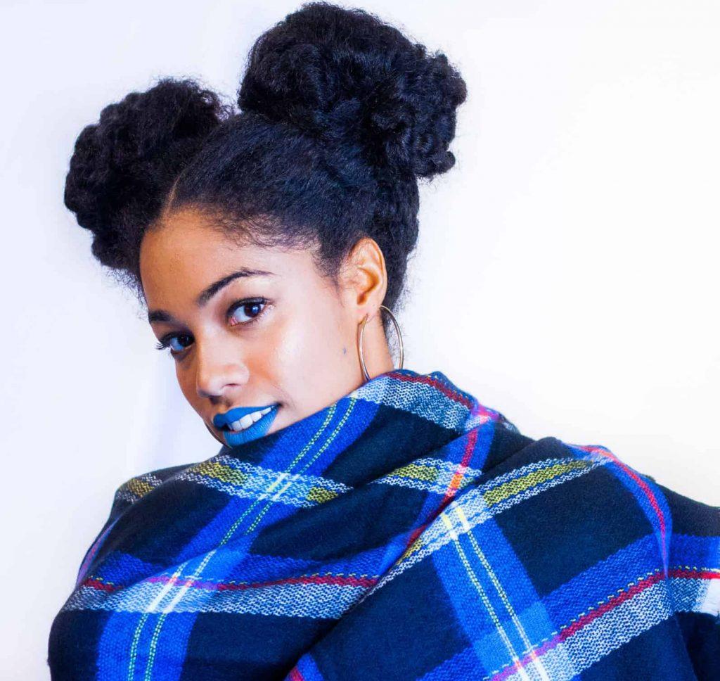 Bright Blue Bold lipstick on black woman | Mac Cosmetics Blue Bang | Natural Hair Styles