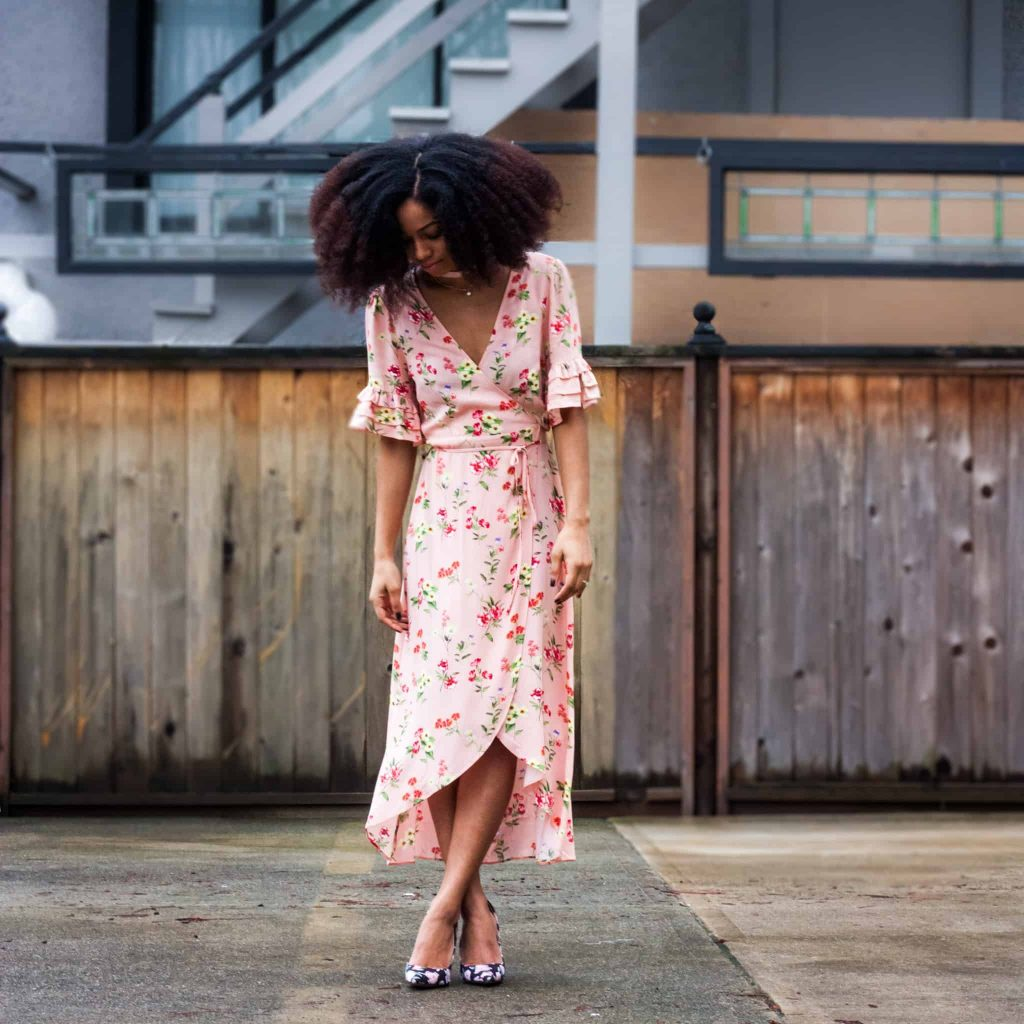 Full Outfit shot | Soft, Floral, Romantic Date night style inspiration | Model with Natural Hair in an afro