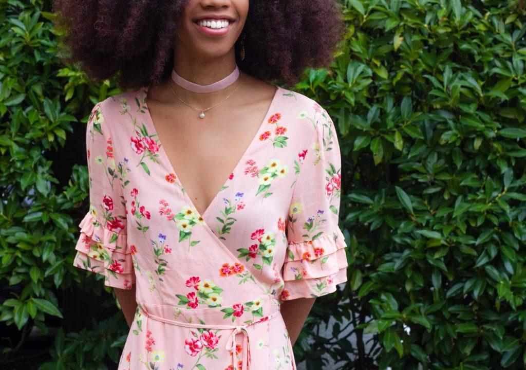 Pink Floral Date Night outfit with Choker on black fashion blogger with natural hair