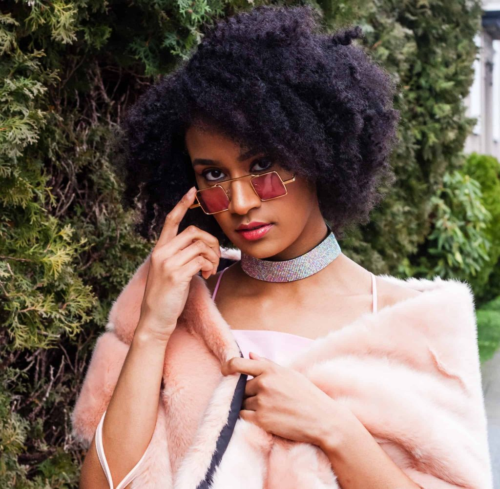 Natural Hair Style on glamorous black woman  with Sparkly choker and Faux Fur Shawl