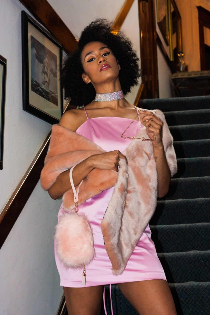 Date night outfit idea for the rich and famous, Pink Fluffy Purse, Faux-fur Shawl, Natural Hair Style