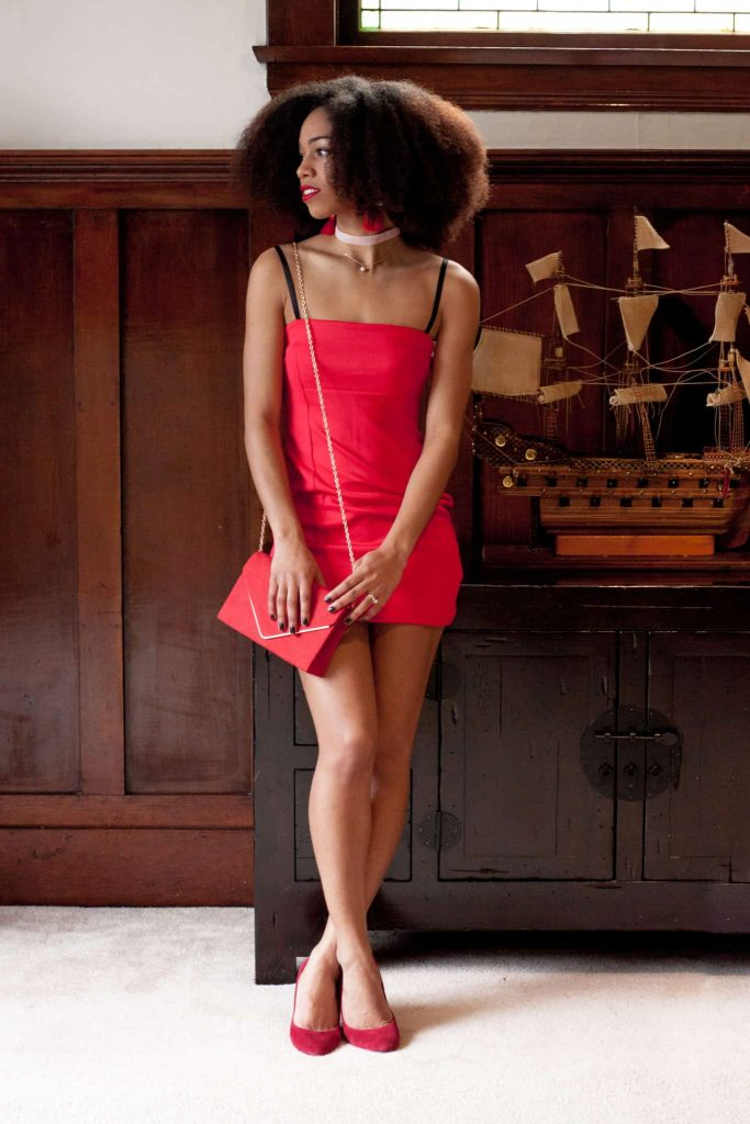 Date night outfit inspiration | Modelled by black woman with Natural Hair | Littlre Red Dress, purse and shoes.