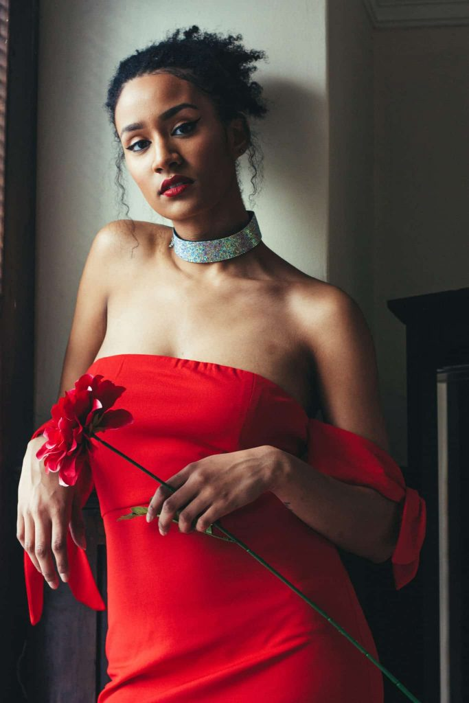 Natural Hair updo and flirtatious red dress for date night (Or Valentine's Day!) Sparkly Choker on black woman