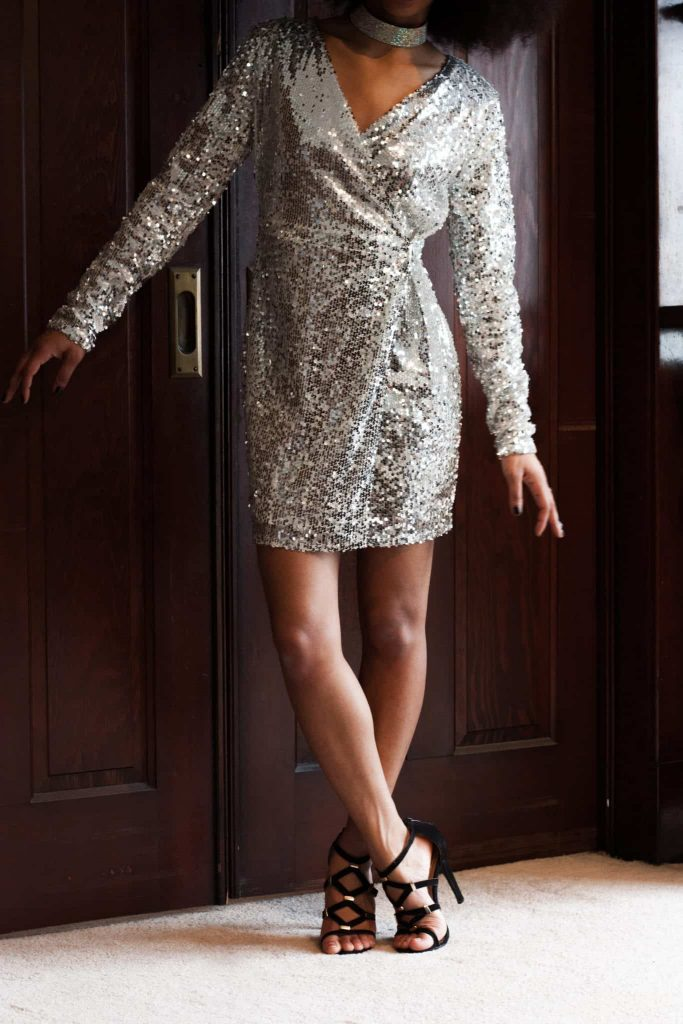 sparkly sequined long-sleeved dress and sparkling choker for a night out | Eye catching style