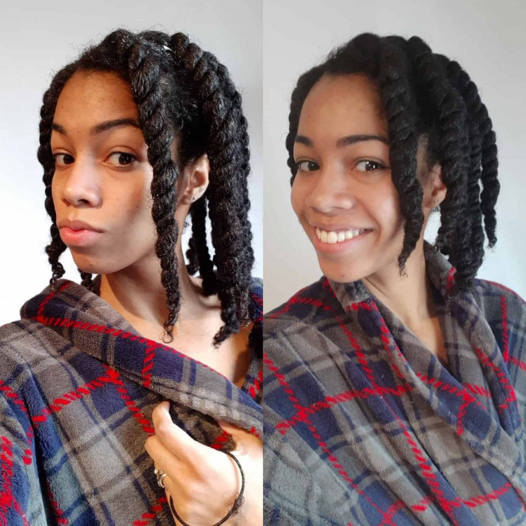 Shrinkage of Twists using LUS Brands Love Ur Curls Products on Natural Type 4 Hair Kinky Coily