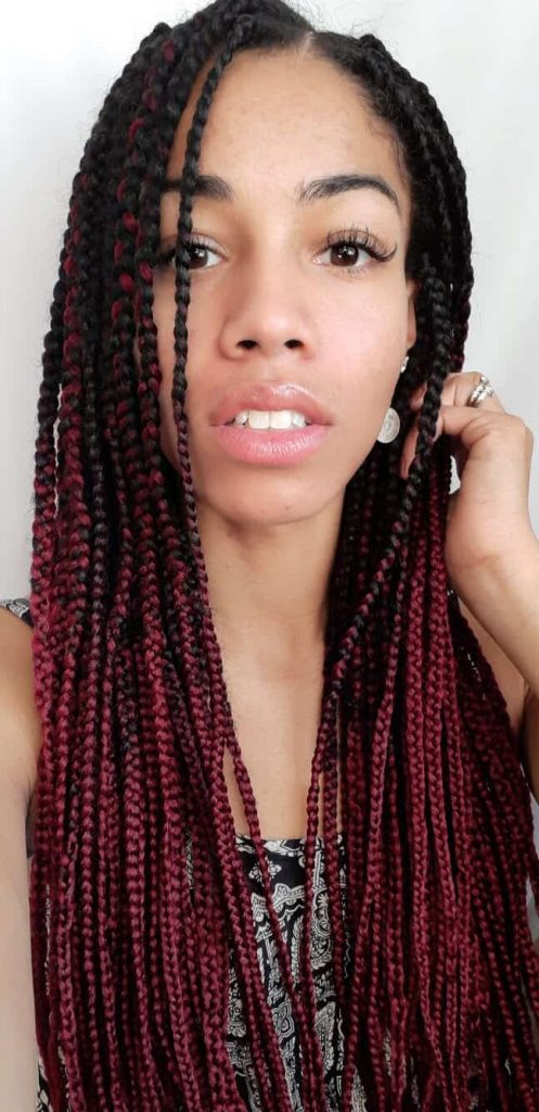 Selfie with Medium sized, long, Red Ombre Box Braids