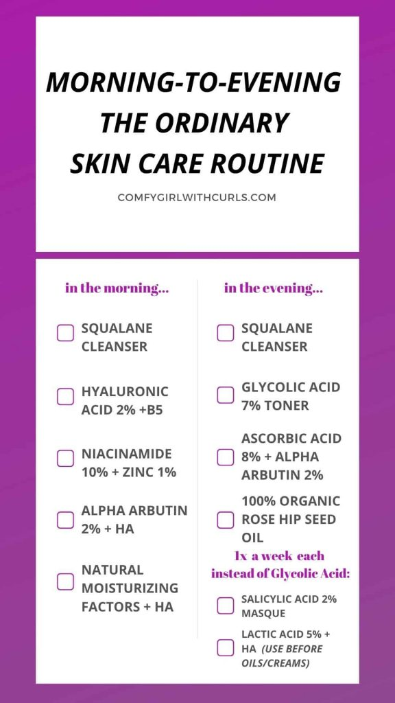 Morning to Evening The Ordinary Skin care regimen for acne prone brown skin