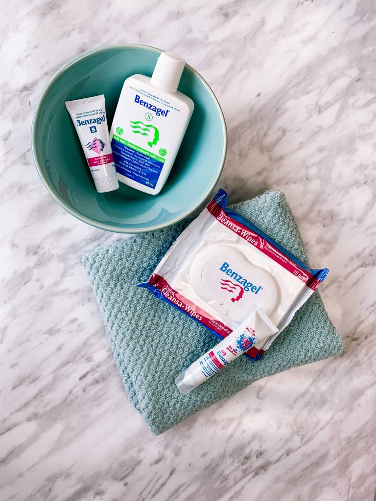 Flatlay of Benzagal Canada Acne -fighting product: Acne Wash, Acne Gel, Cleanse-Wipes, and Spot on Acne Treatment.