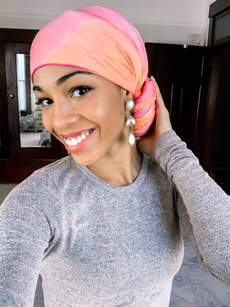 Pink Headwrap styled tied at the back | MelaninHaircare | Black Blogger