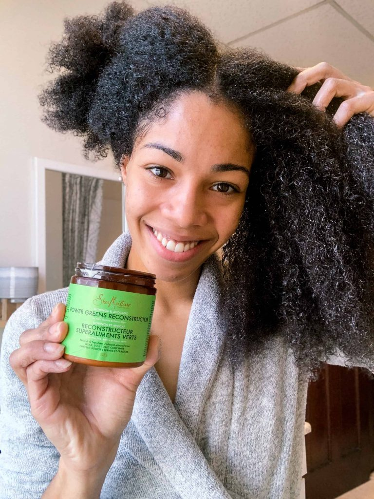 Best Product from the Shea Moisture Power Greens Line : Reconstructor | Natural Hair Blogger Washing her hair.